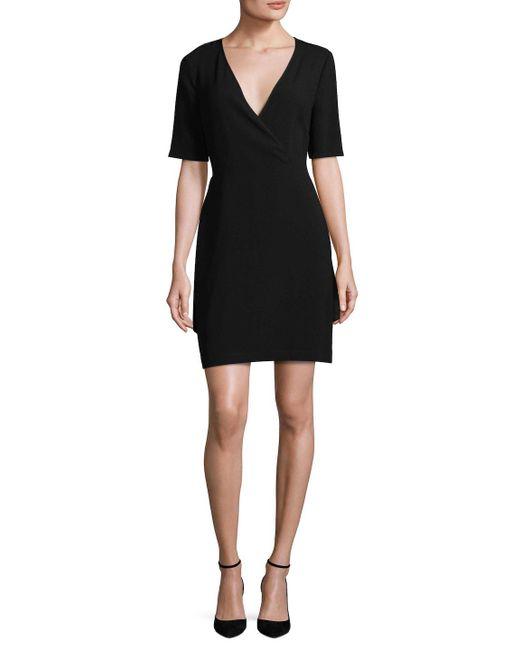 BCBGMAXAZRIA - Black Wrap Mini Dress - Lyst