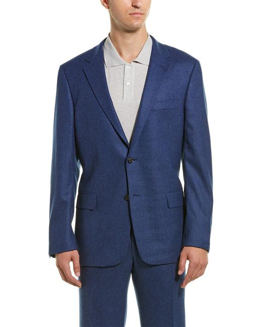 Hickey Freeman Blue 2pc Milburn Ii Wool & Cashmere-blend Suit With Flat Pant for men