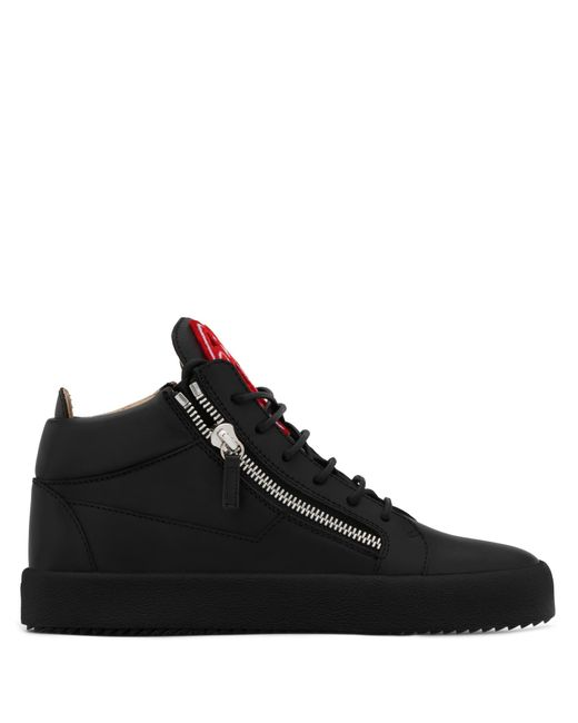 Giuseppe Zanotti - Black Leather Mid-top Sneaker With Signature Kriss for Men - Lyst