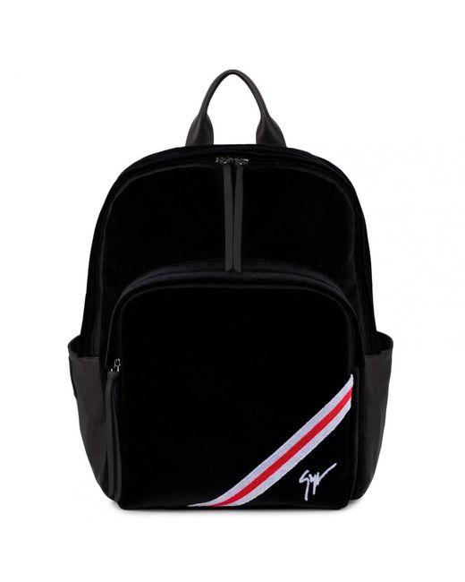Giuseppe Zanotti - Black Sac à dos en velours noir avec insertions rouges  et blanches CHALMER ... 5abcc468d28