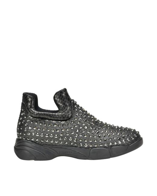 Pinko - Gray Gem Embellished Slip-on Sneakers - Lyst