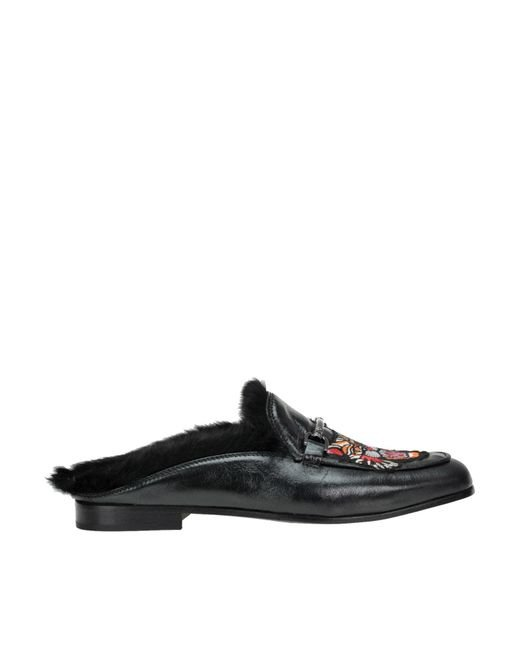 Lemarè - Black Embroidered Leather Mules - Lyst