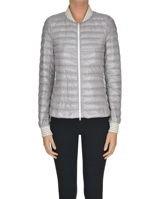 Herno - Gray Quilted Lightweight Down Jacket - Lyst