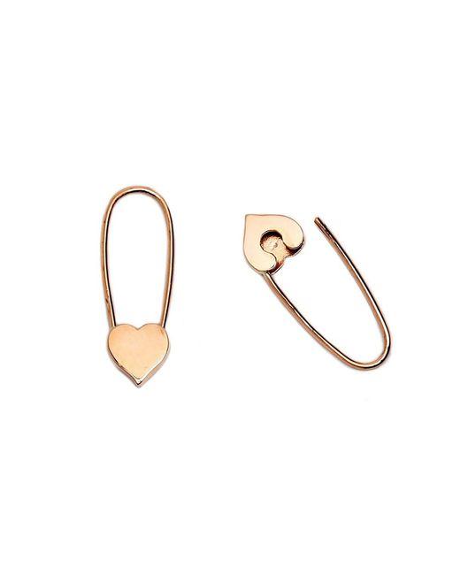 Loren Stewart - Metallic Mini Heart Safety-pin Earrings - Lyst
