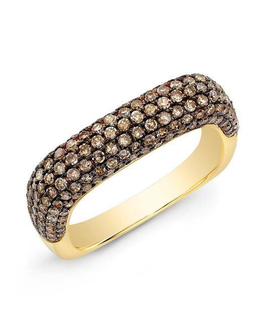 Anne Sisteron - Metallic 14kt Yellow Gold Champagne Diamond Square Ring - Lyst