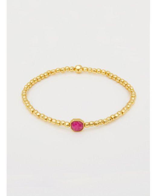Gorjana & Griffin - Metallic Power Gemstone Pink Jade Charm Bracelet - Lyst