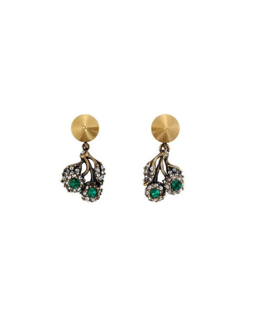 Gucci - Metallic Flowers Pendant Earrings With Crystals - Lyst