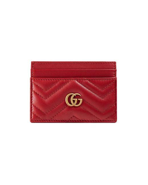 a02ebdd2e Lyst - Gucci GG Marmont Card Case in Red - Save 30%