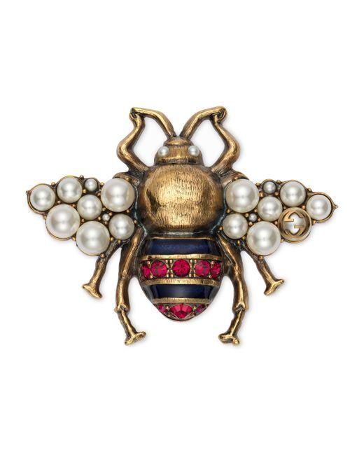 Gucci - Metallic Gold-tone, Enamel, Crystal And Faux Pearl Brooch - Lyst