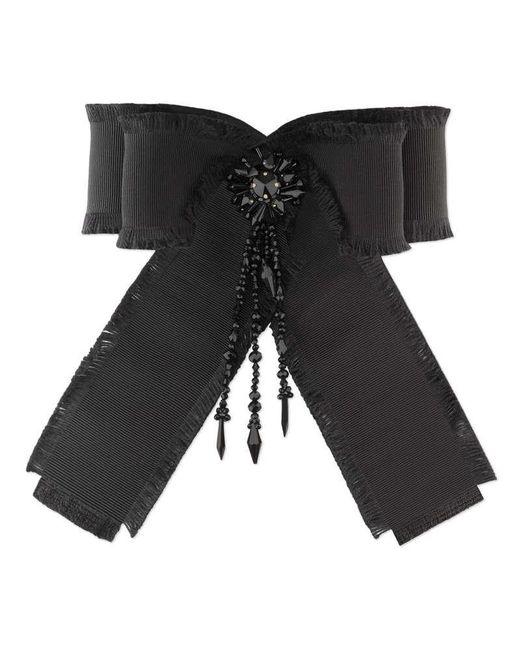 Gucci - Black Grosgrain Bow Brooch - Lyst