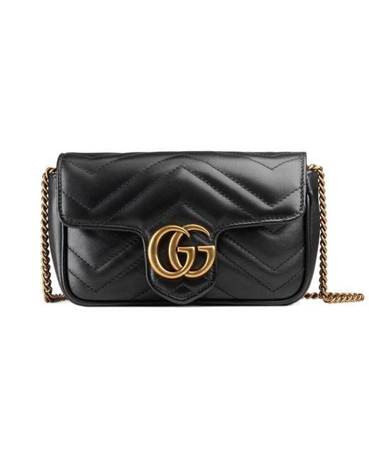 9e1347000e9b Gucci - Black GG Marmont Matelassé Leather Super Mini Bag - Lyst ...