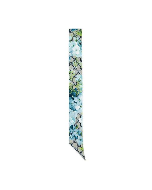 Gucci - Blue Gg Blooms Silk Neck Bow - Lyst