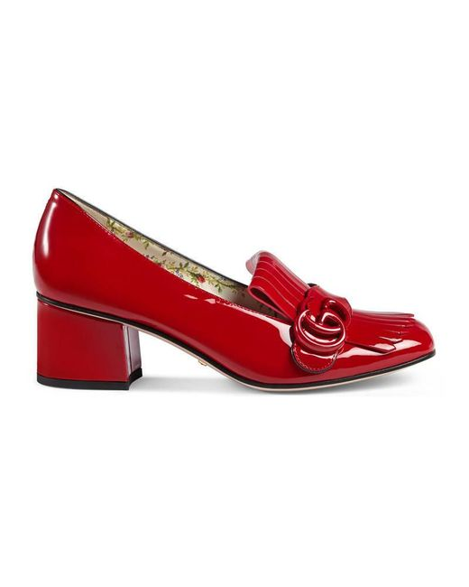 Gucci | Red Marmont Patent Leather Mid Heel Pump | Lyst