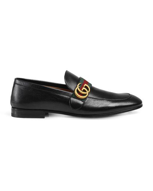 Gucci - Black Loafer aus Leder mit Webstreifen for Men - Lyst