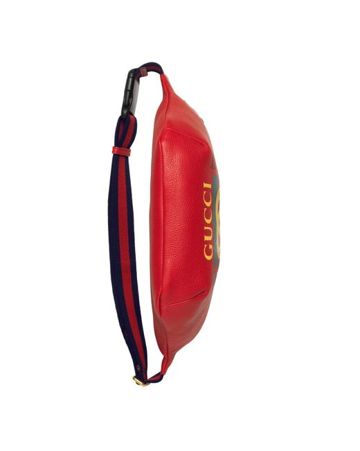 846a9ba675cd Gucci Print Leather Belt Bag in Red for Men - Save 22% - Lyst