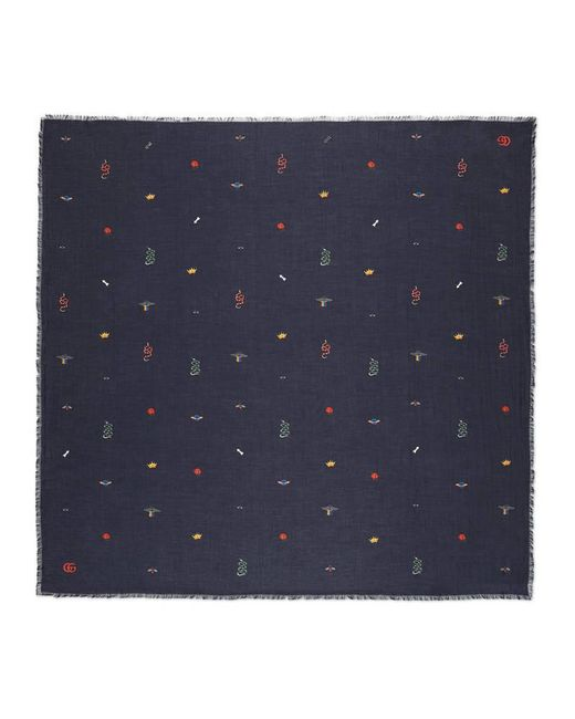 Gucci - Blue Embroidered Cotton Modal Shawl - Lyst