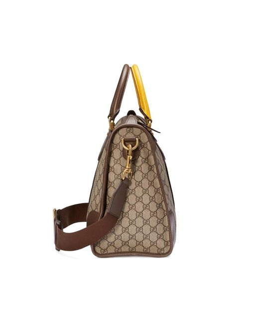 c00586f8e ... Gucci - Brown Soft GG Supreme Duffle Bag With Web for Men - Lyst ...