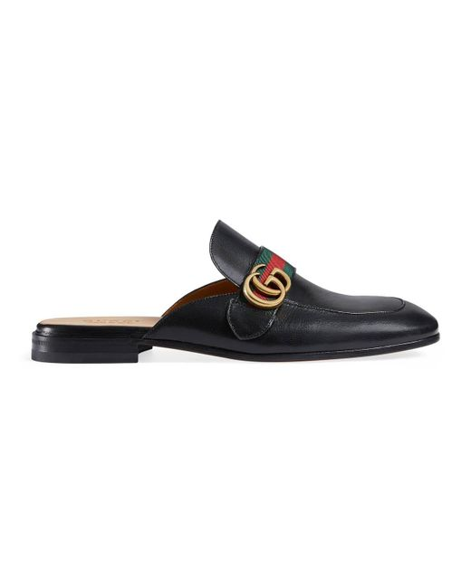 fb5eea0038f Gucci - Green Princetown Leather Slipper With Double G for Men - Lyst ...