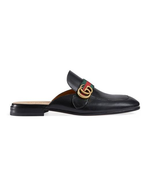 1283b6a9d44 Gucci - Green Princetown Leather Slipper With Double G for Men - Lyst ...