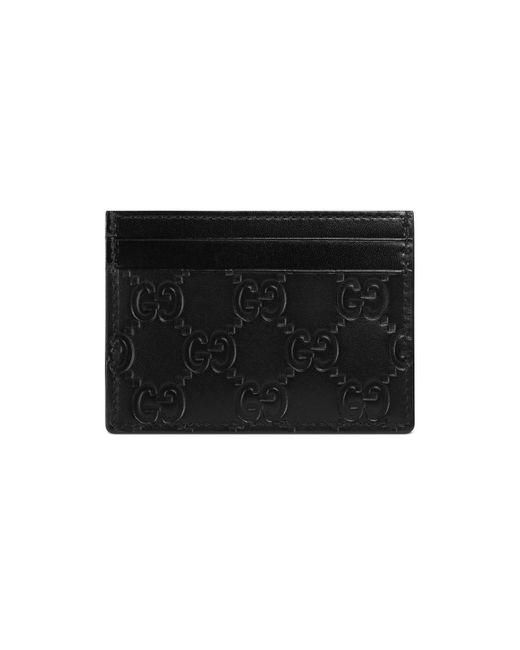 Gucci - Black Signature Leather Card Case - Lyst