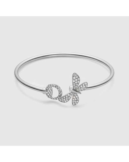 Gucci | Flora Bracelet In White Gold | Lyst