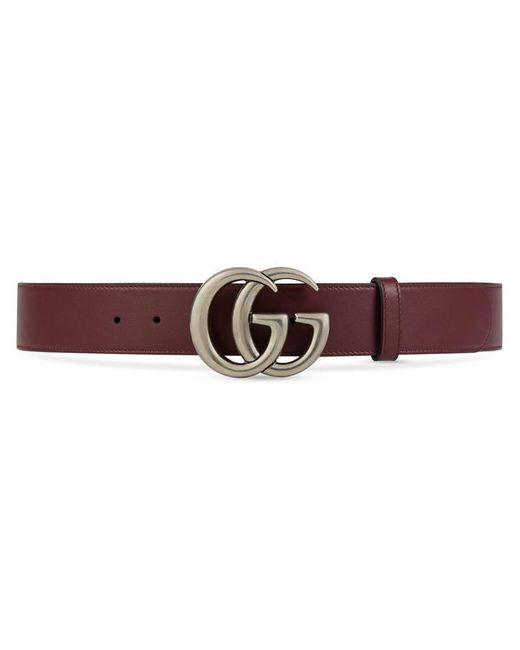 gucci leather belt with double g buckle in red lyst
