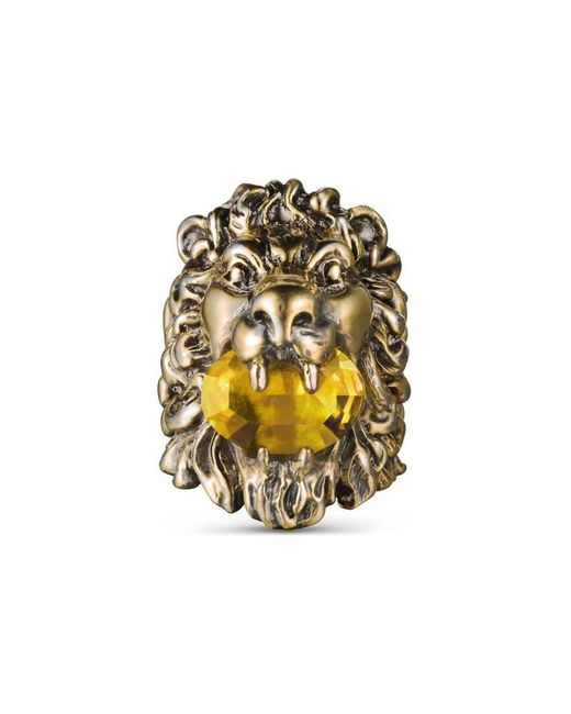 Gucci | Yellow Lion Head Ring With Crystal | Lyst