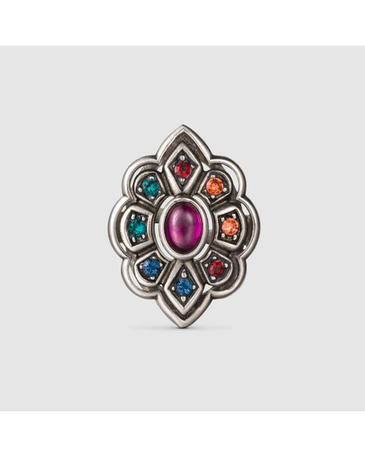 Gucci | Metallic Ring With Swarovski Crystals | Lyst