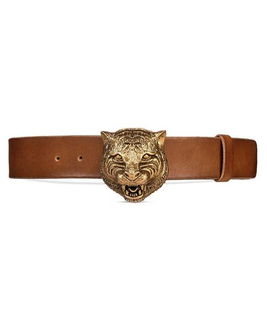 gucci leather belt with feline buckle in brown for lyst
