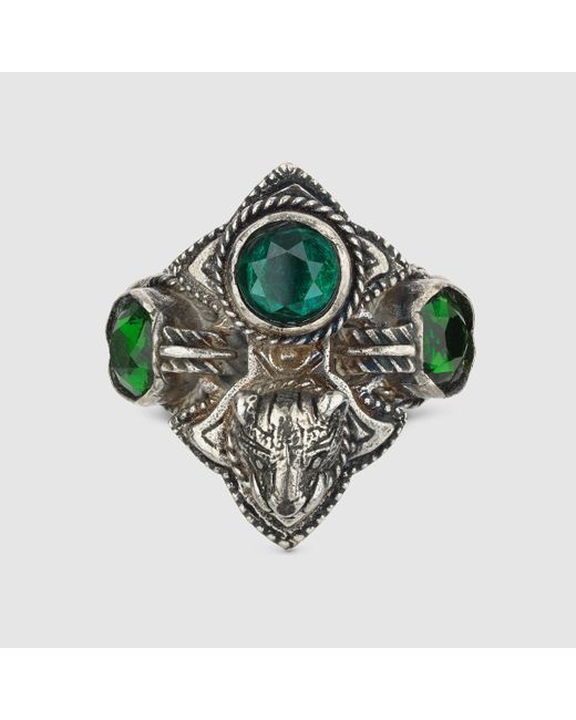 Gucci | Metallic Feline Head Ring With Crystals | Lyst