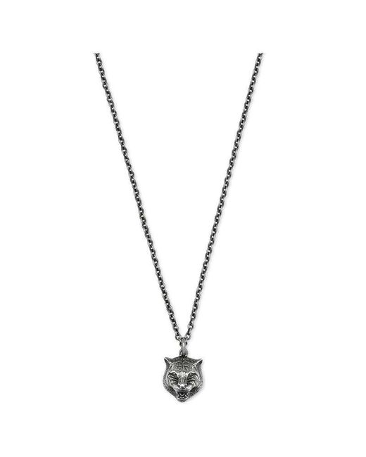 Gucci - Metallic Necklace In Silver With Feline Head for Men - Lyst