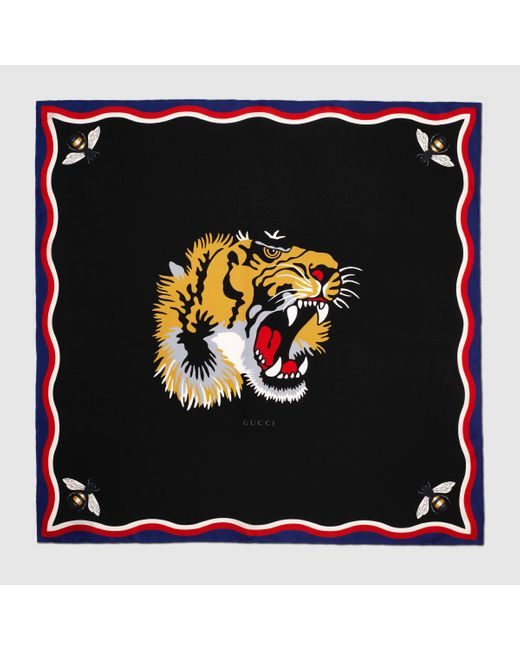 Gucci | Black Tiger Print Modal Silk Scarf | Lyst