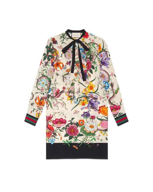 Gucci | White Floral Snake Print Silk Dress | Lyst