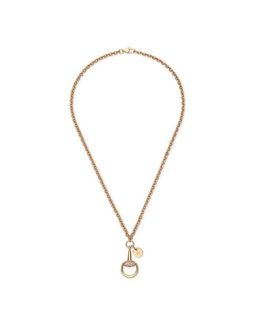 Gucci - Metallic Diamond Horsebit Necklace - Lyst