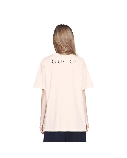 6ba55c77605a ... Gucci - White Oversize T-shirt With Movie Print - Lyst ...
