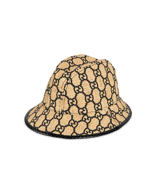 4b4dcb45033b3 Gucci - Natural GG Fedora Hat With Snakeskin - Lyst ...