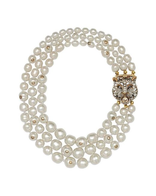 Gucci - Multicolor Layered Pearl Necklace With Feline Closure - Lyst