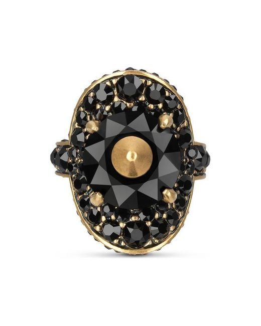 Gucci | Metallic Ring With Stud And Crystals | Lyst