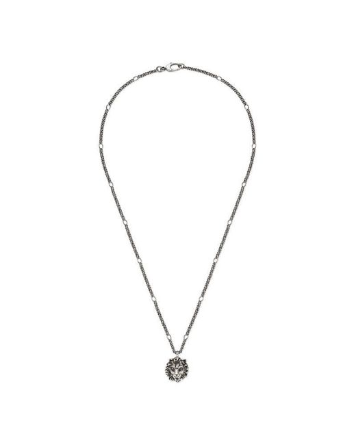 Gucci - Metallic Necklace With Lion Head Pendant - Lyst