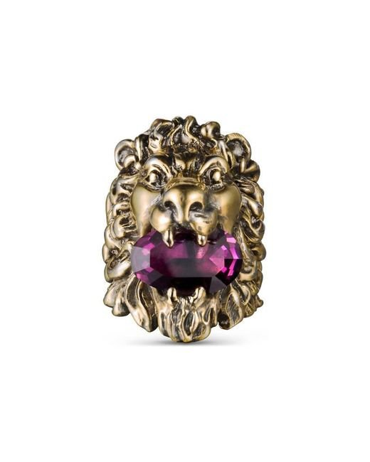 Gucci - Purple Lion Head Ring With Crystal - Lyst