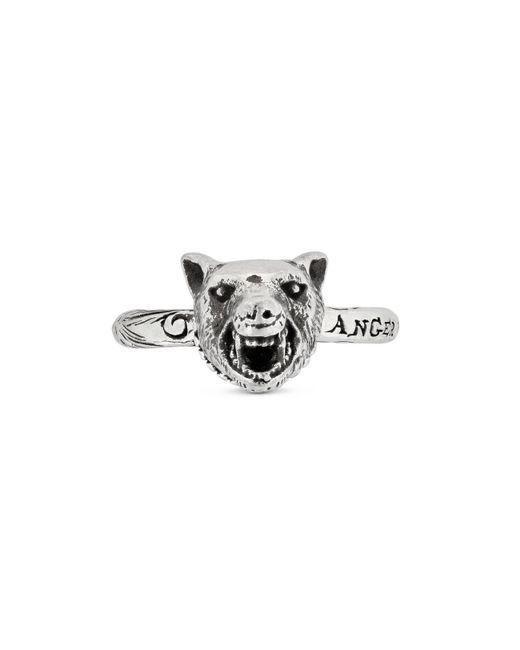 Gucci - Metallic Anger Forest Wolf Head Ring In Silver - Lyst