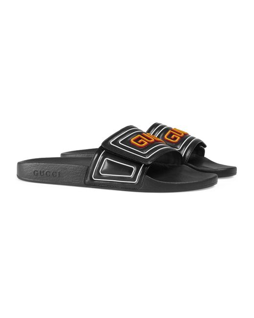 47df5e6714f85 ... Lyst Gucci - Black Men s Logo Leather Slide Sandal for Men ...