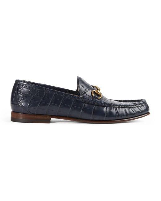Gucci - Blue 1953 Horsebit Crocodile Loafer for Men - Lyst