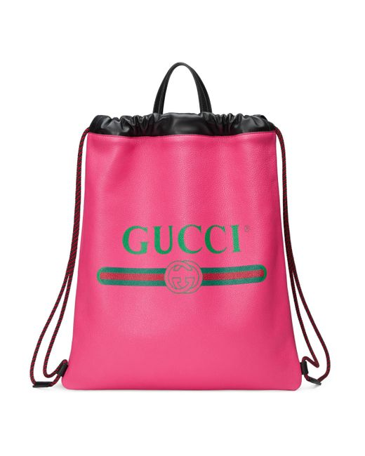 Gucci - Red Print Leather Drawstring Backpack - Lyst ... 49d7e6a7e9
