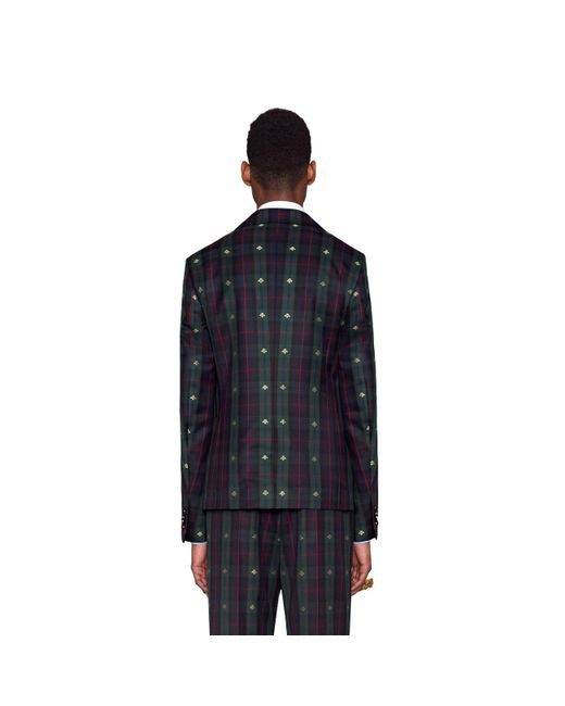 03a971c95 ... Gucci - Blue Check Bees Fabric Jacket for Men - Lyst ...