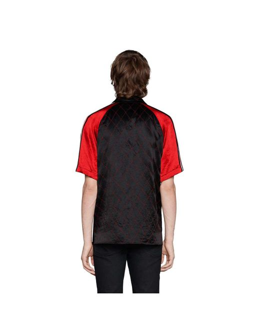4b104c37de6 ... Gucci - Black Acetate Bowling Shirt With Panther Face for Men - Lyst ...