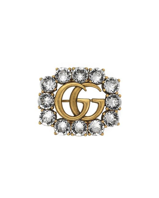 Gucci Metallic Metal Double G Brooch With Crystals