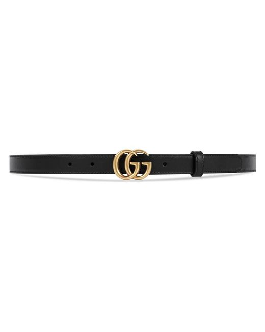 Gucci - Black Leather Belt With Double G Buckle - Lyst