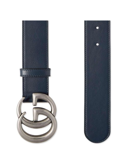 1fcd5e68553 Lyst - Gucci Leather Belt With Double G Buckle in Blue for Men