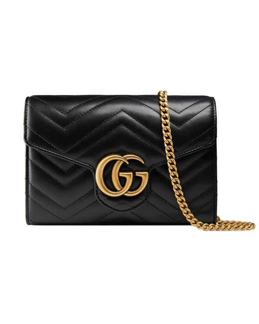 Gucci - Black GG Marmont Leather Mini Chain Bag - Lyst